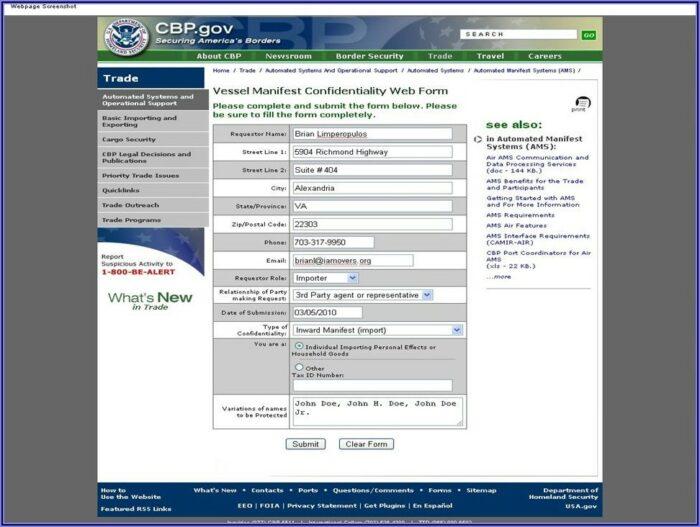 Isf Form Customs