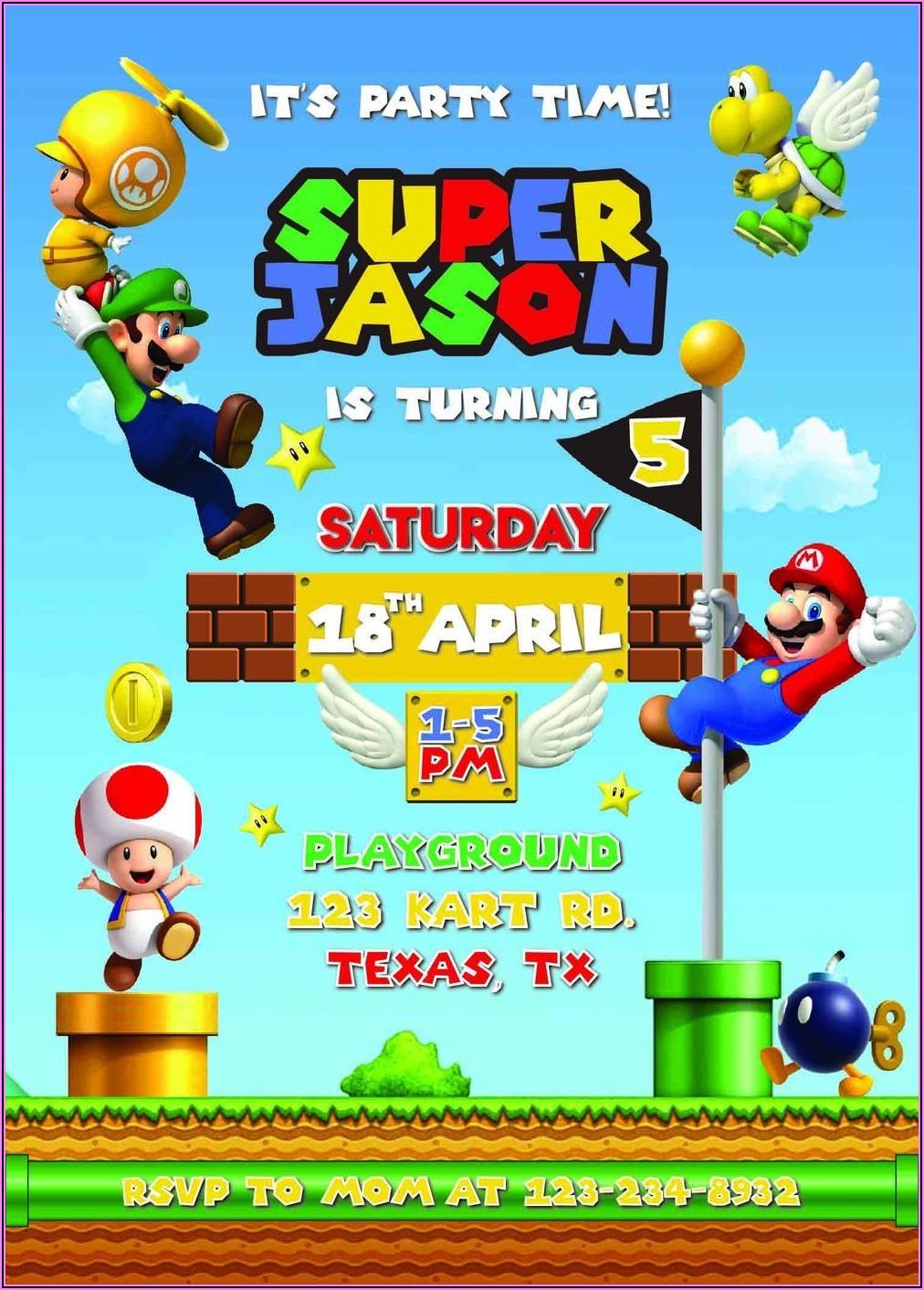 Mario Bros Birthday Invitation