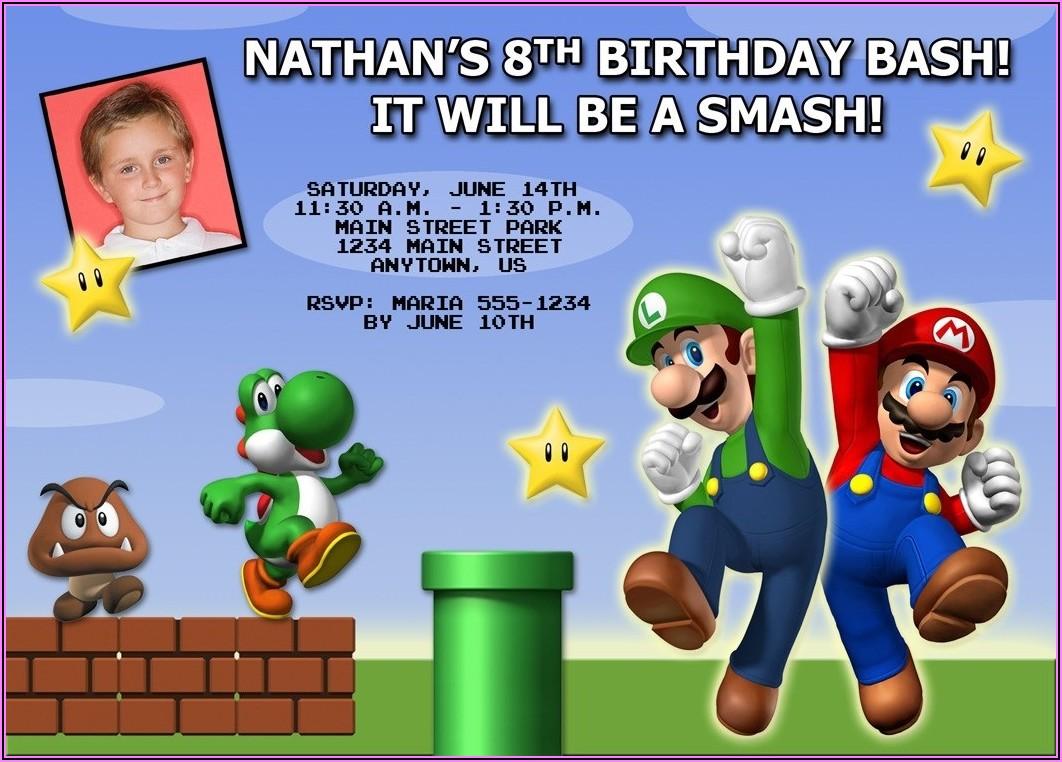 Mario Bros Birthday Party Invitations