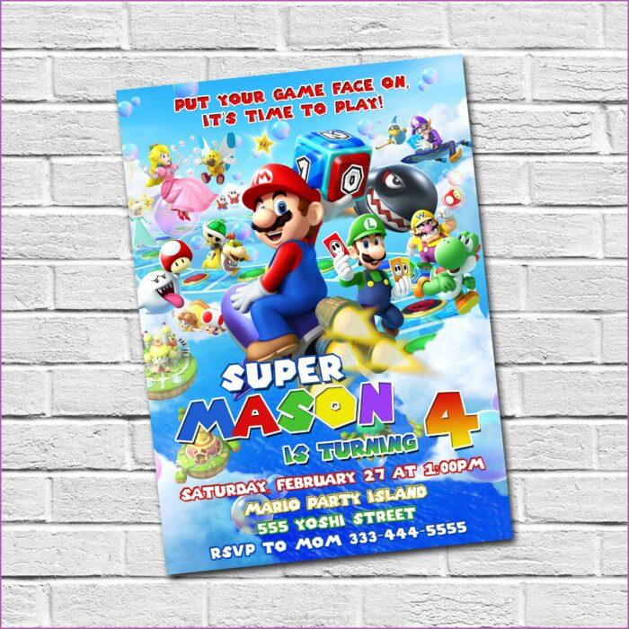Mario Brothers Birthday Party Invitation