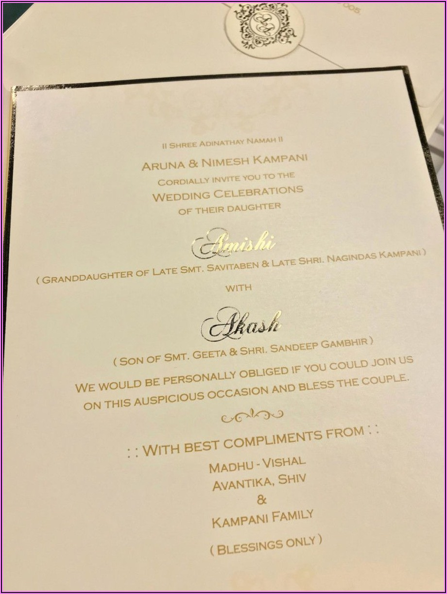 Marriage Invitation Card Wording In English