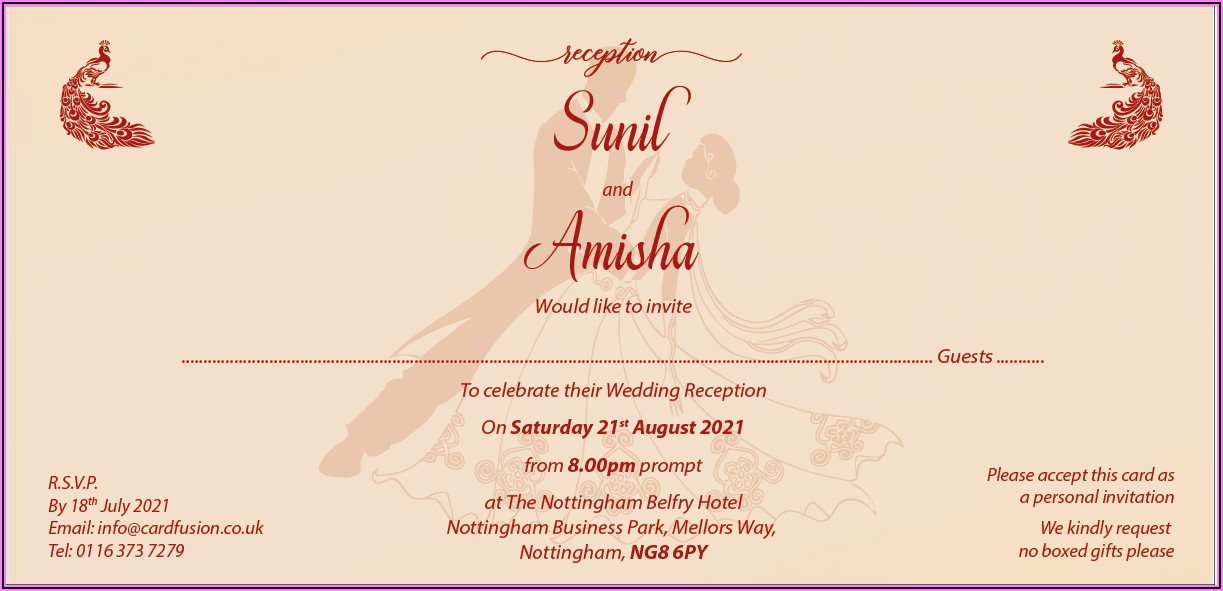 Marriage Invitation Wording Samples Indian
