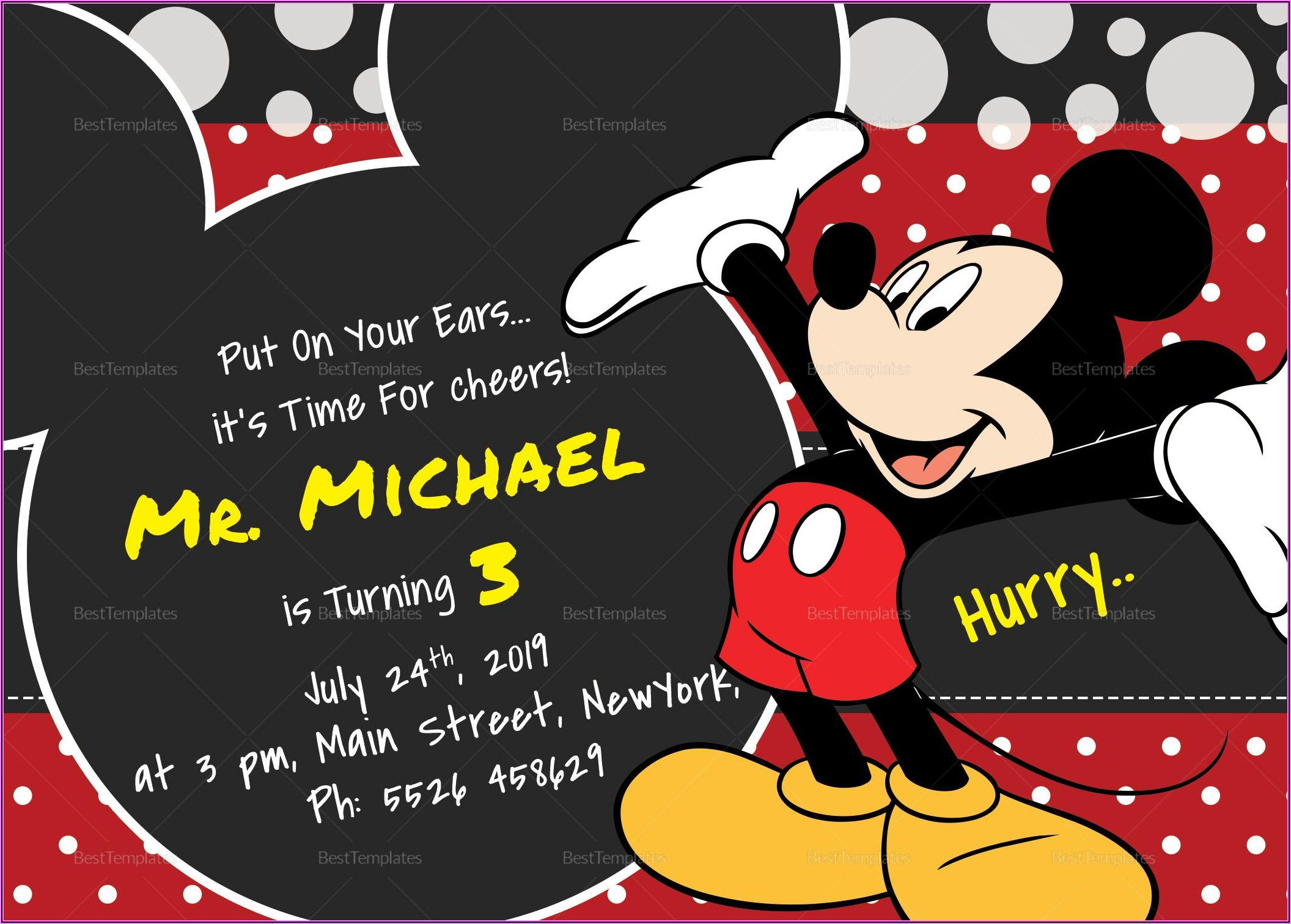 Mickey Mouse 1st Birthday Invitation Template Free