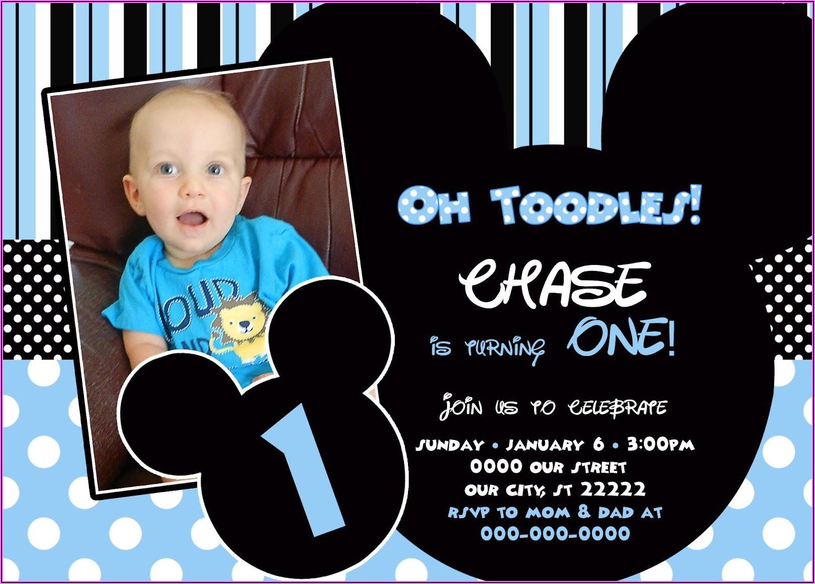 Mickey Mouse First Birthday Invitation Template