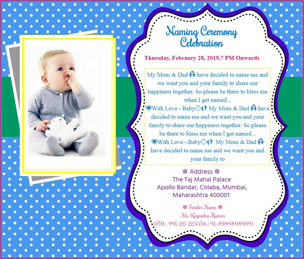 Naming Ceremony Invitation Card For Baby Boy