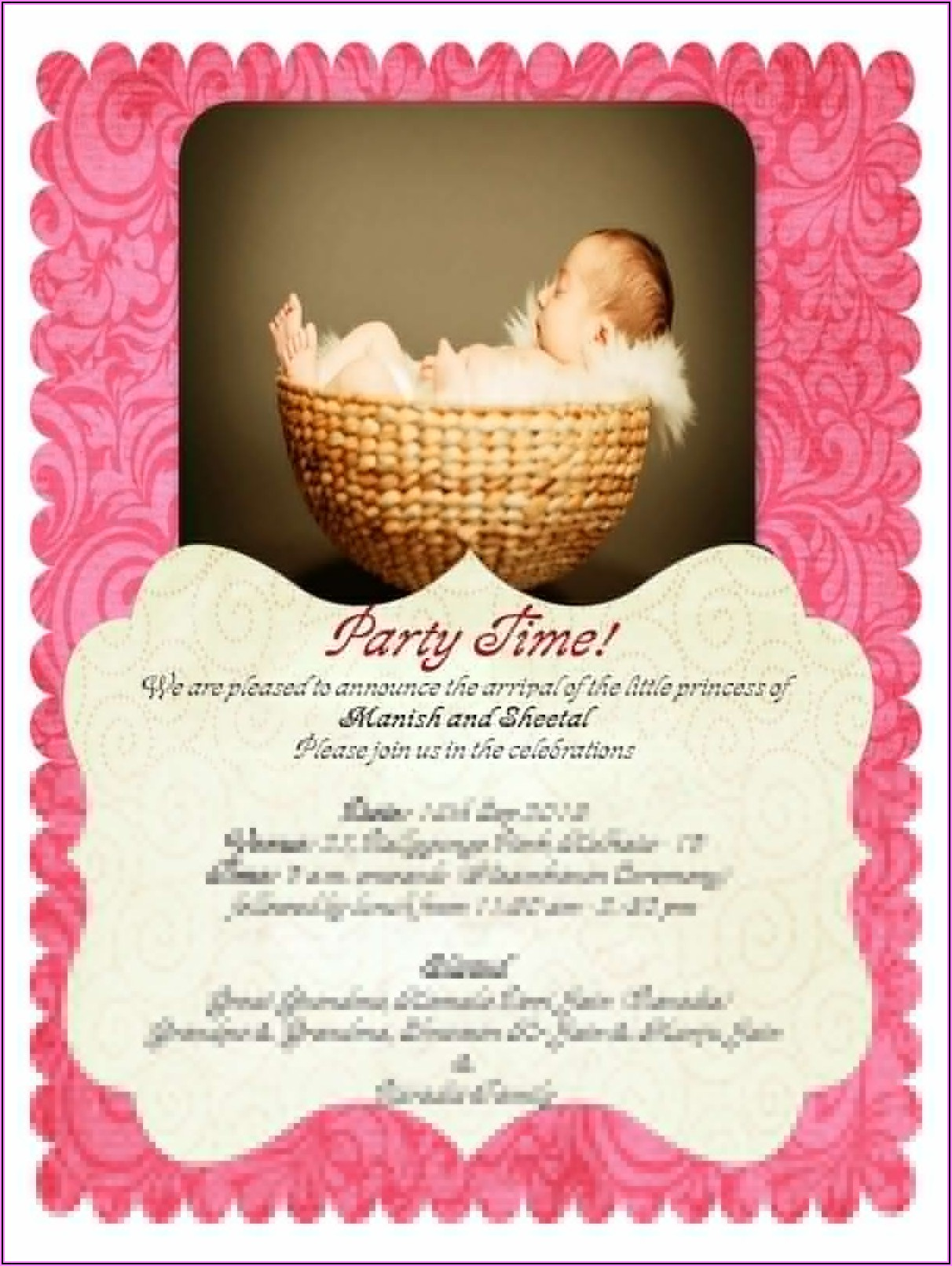 Naming Ceremony Invitation Card For Baby Girl Editable