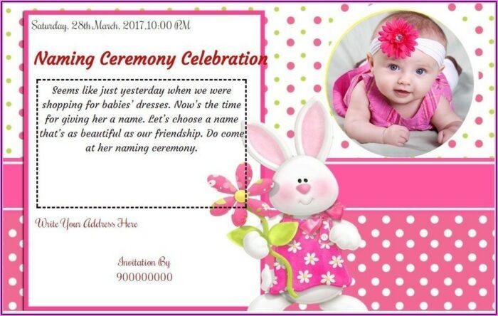 Naming Ceremony Invitation Card For Baby Girl In Kannada
