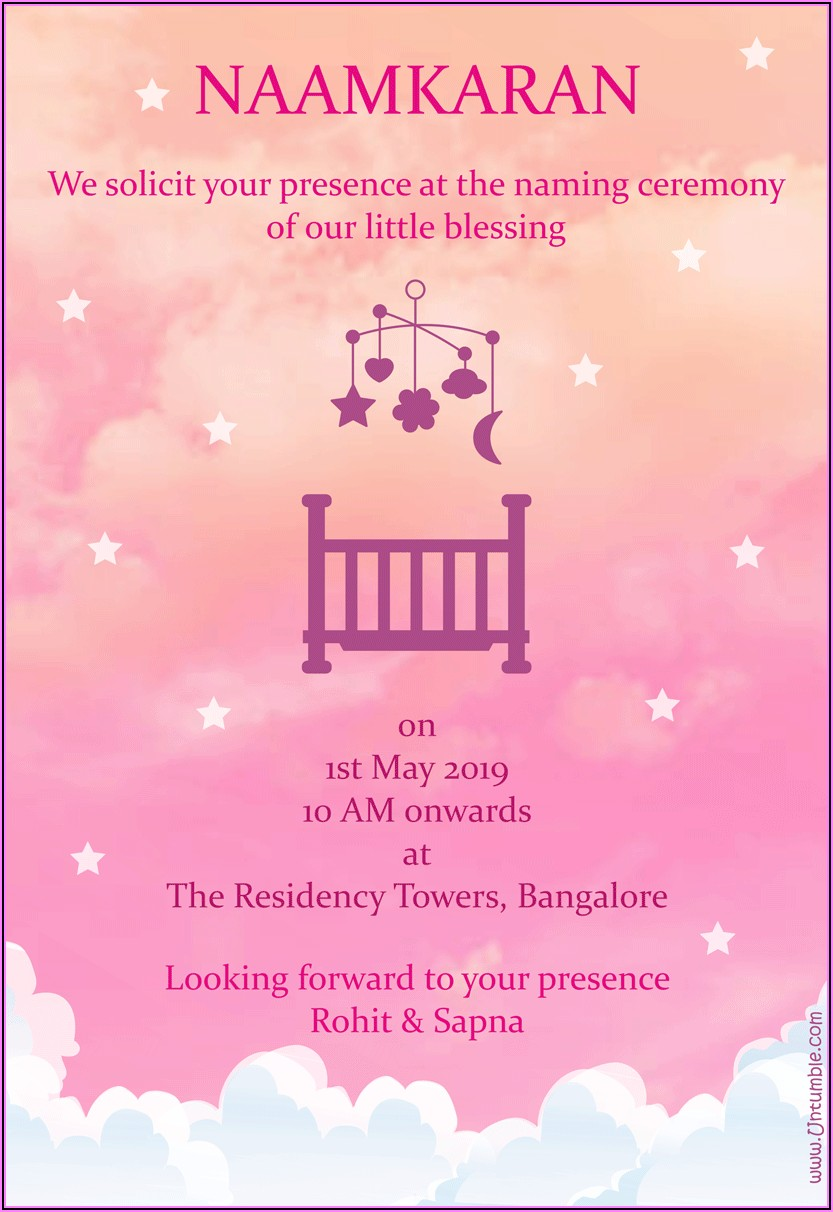 Naming Ceremony Invitation Card For Baby Girl Online Free