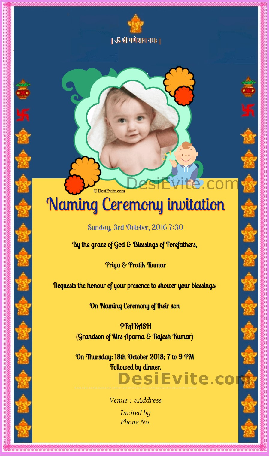 Naming Ceremony Invitation Wordings In English