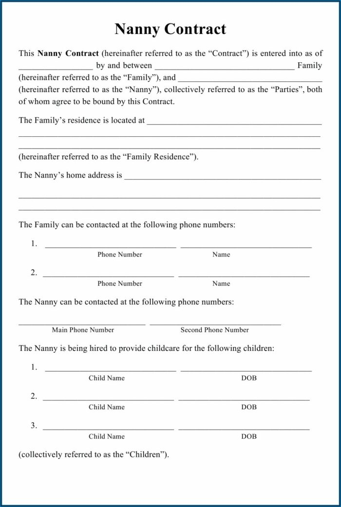 Nanny Share Agreement Template