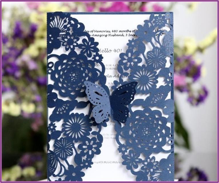 Navy Blue And Purple Wedding Invitations