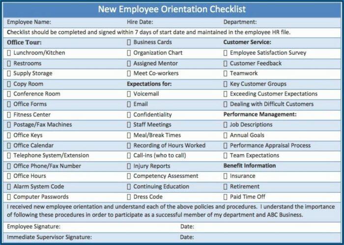 New Employee Training Checklist Template