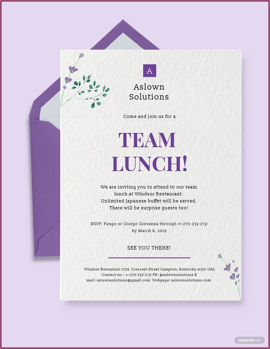 Office Team Lunch Invitation Templates