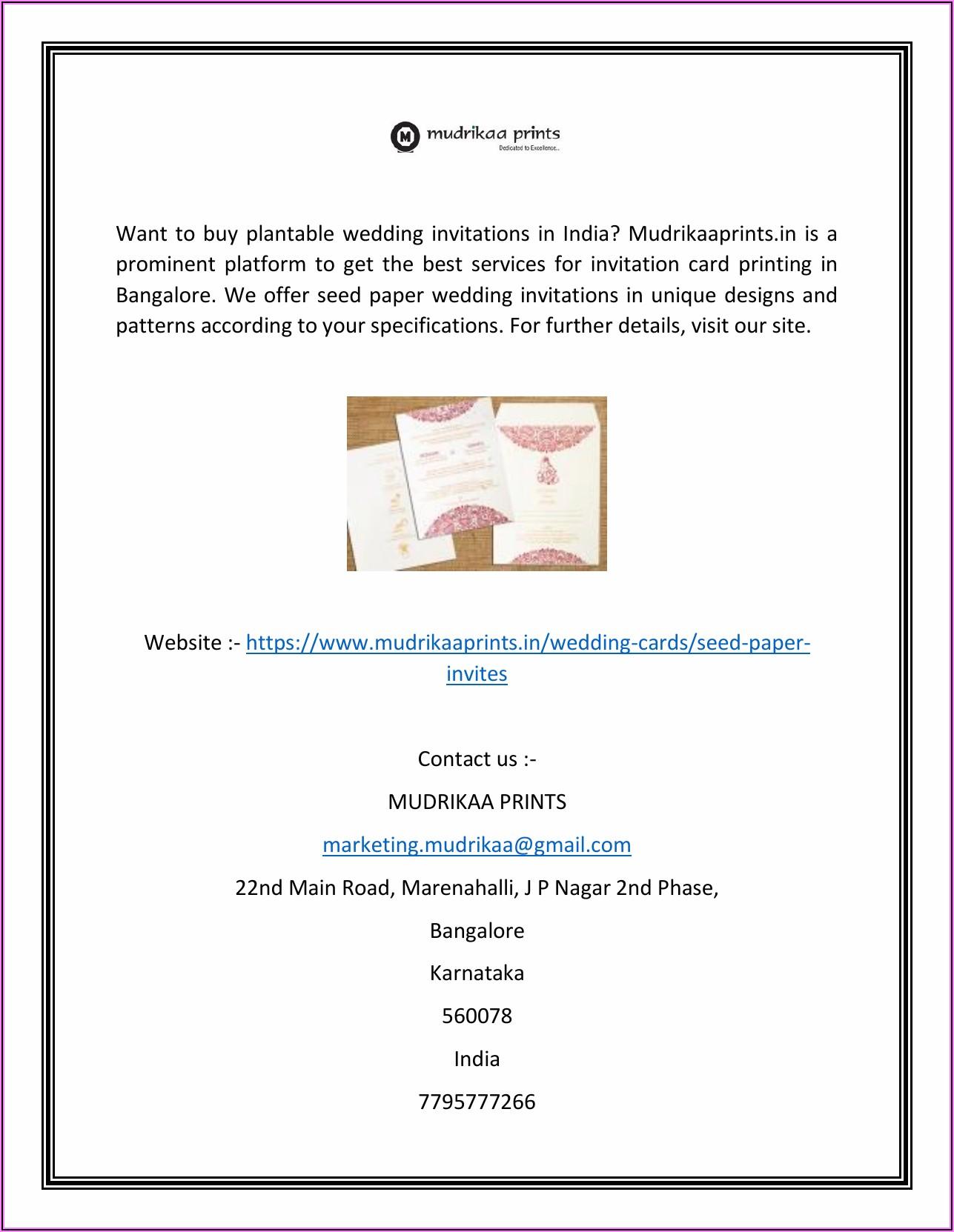 Plantable Wedding Invitations India