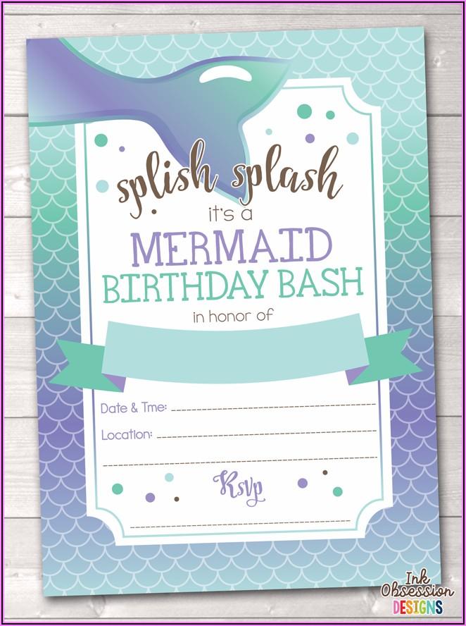 Printable Mermaid Birthday Party Invitations