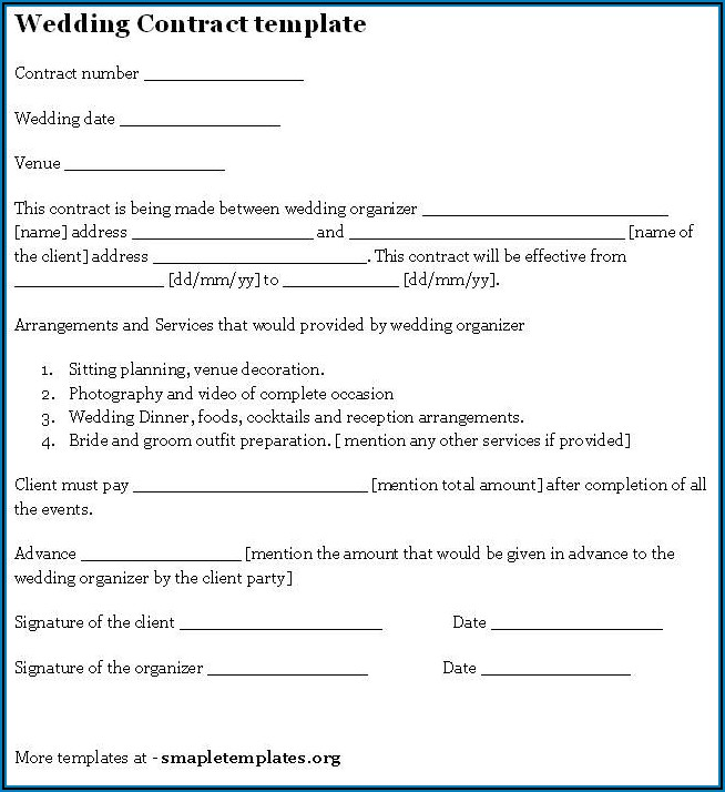 Printable Wedding Venue Contract Template