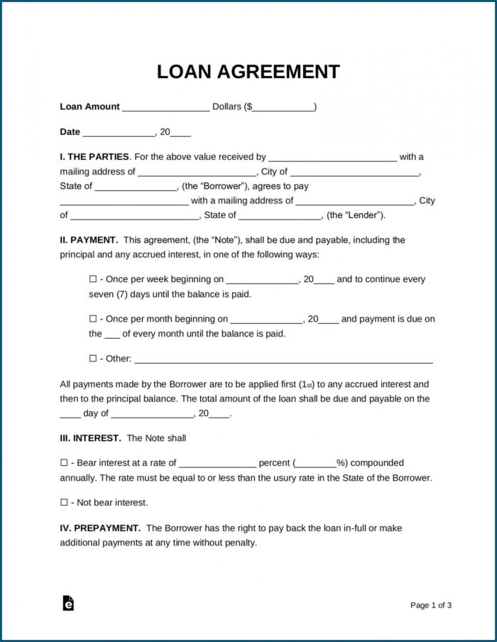 Private Loan Agreement Template Free