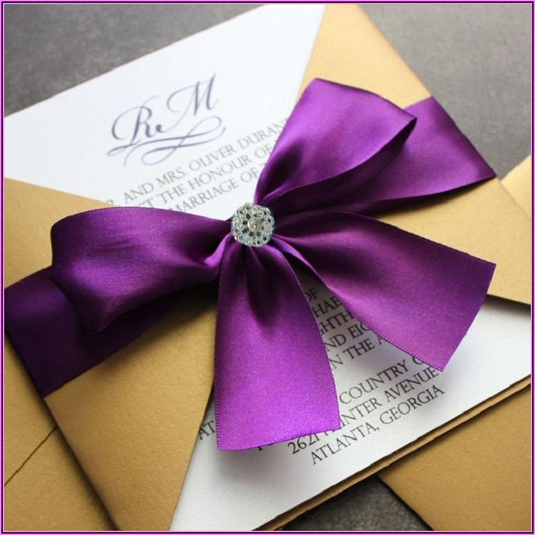 Purple And Gold Wedding Invitation Cards
