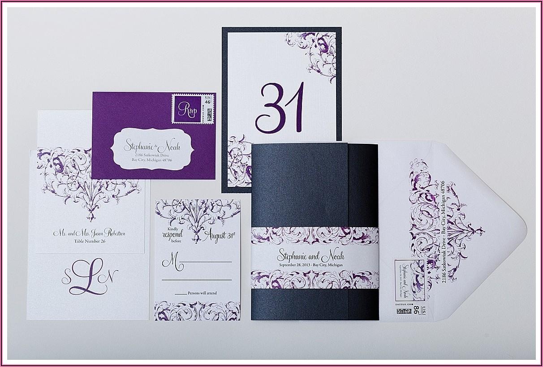 Purple And White Wedding Invitations