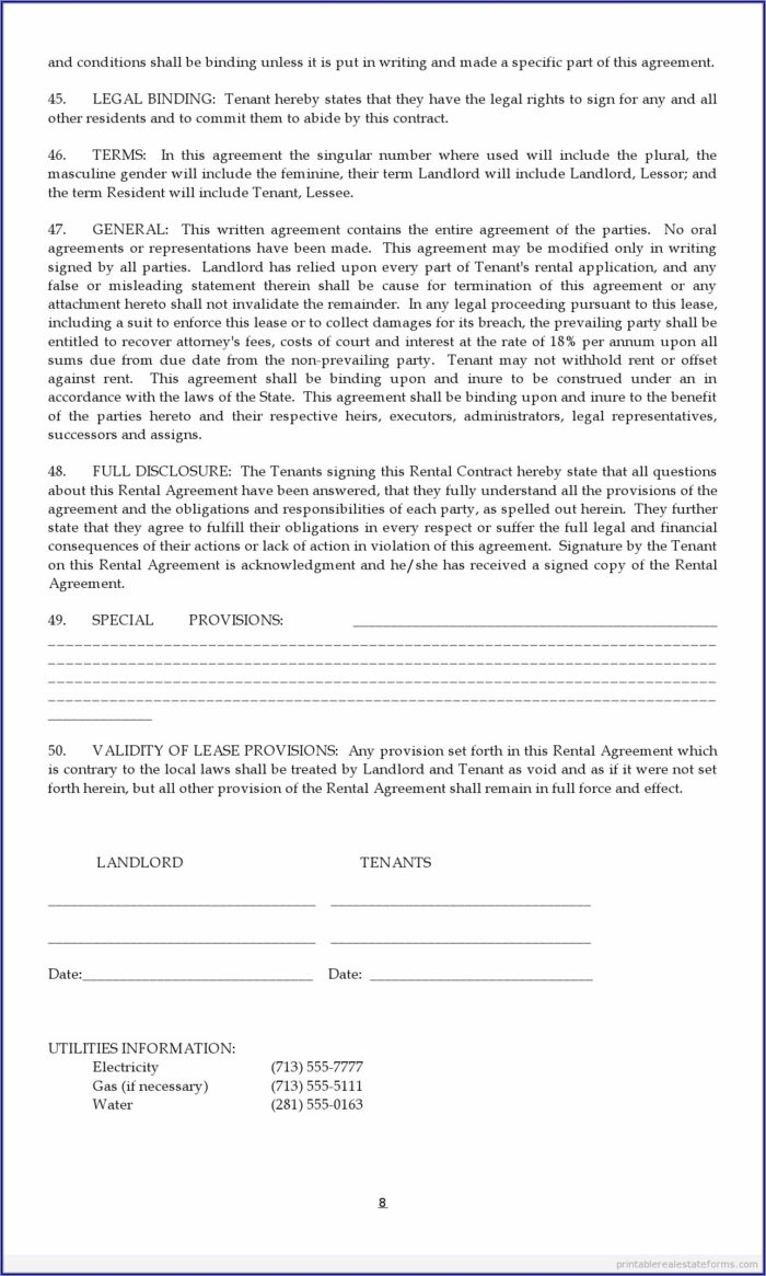 Real Estate Lease Agreement Forms Free
