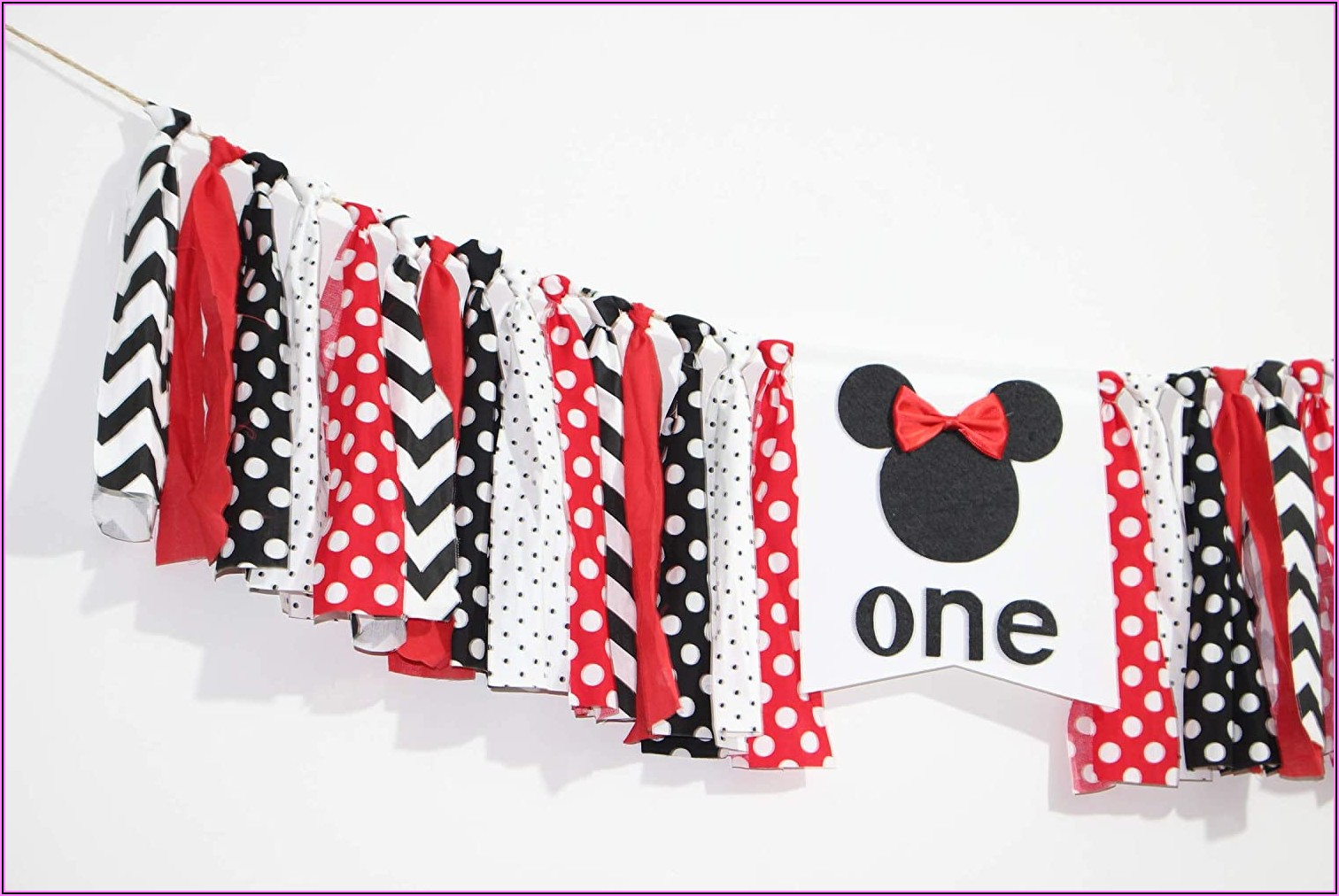 Red And Black Minnie Mouse 1st Birthday Invitations