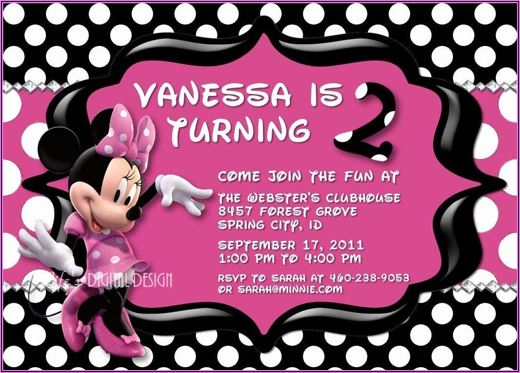 Red And Black Minnie Mouse Invitations