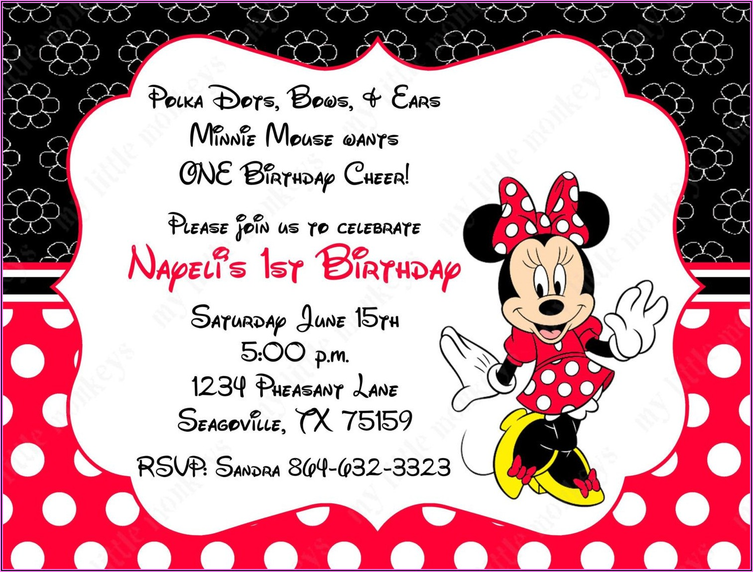 Red Black And White Minnie Mouse Invitations