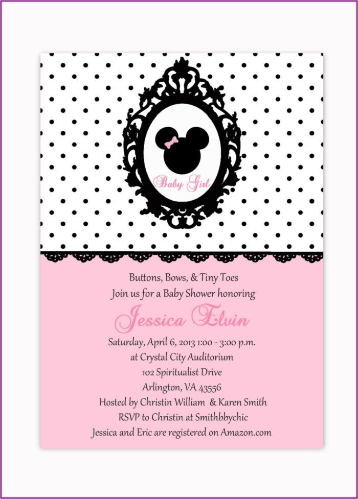 Red Minnie Mouse Baby Shower Invitations