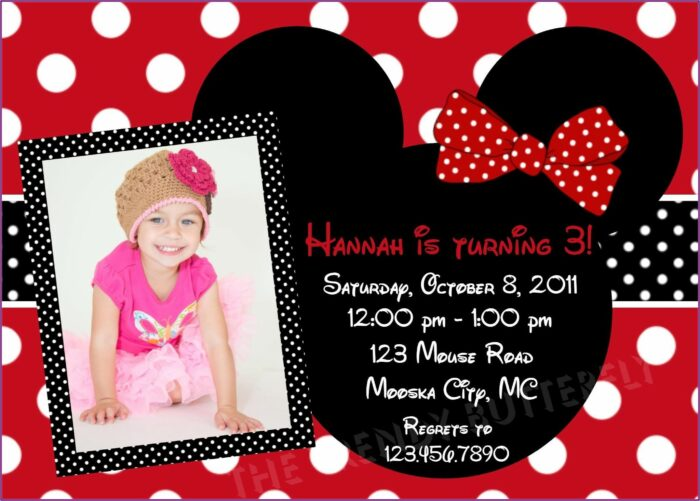 Red Minnie Mouse Party Invitations