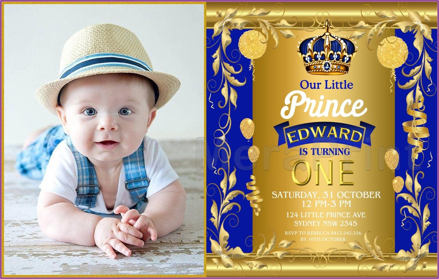 Royal Blue Prince Invitation Background