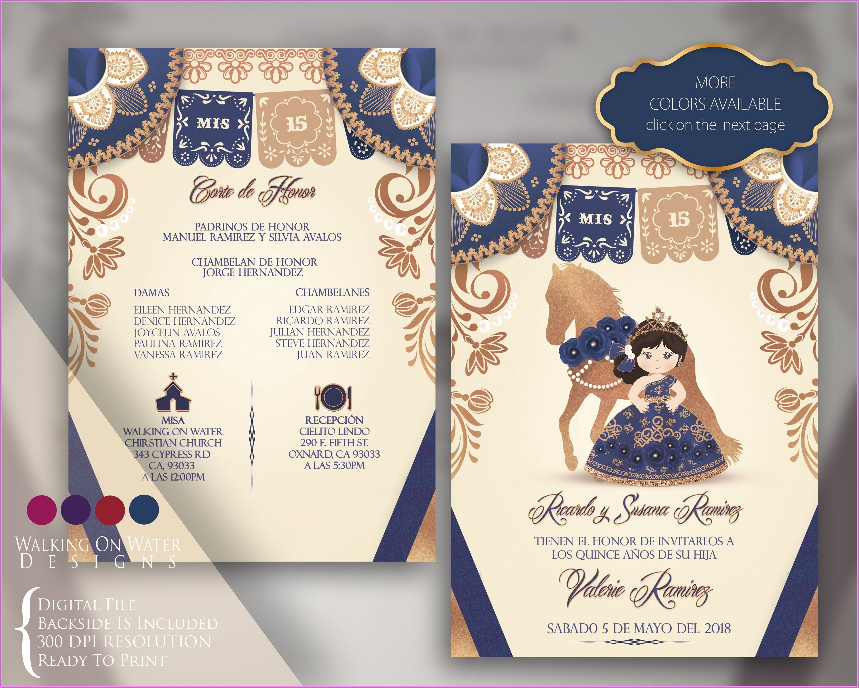 Royal Blue Quince Invitations