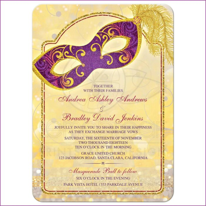 Royal Purple And Gold Wedding Invitations