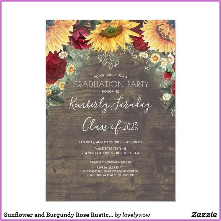 Rustic Sunflower And Rose Wedding Invitations