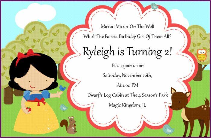 Snow White Birthday Invitations