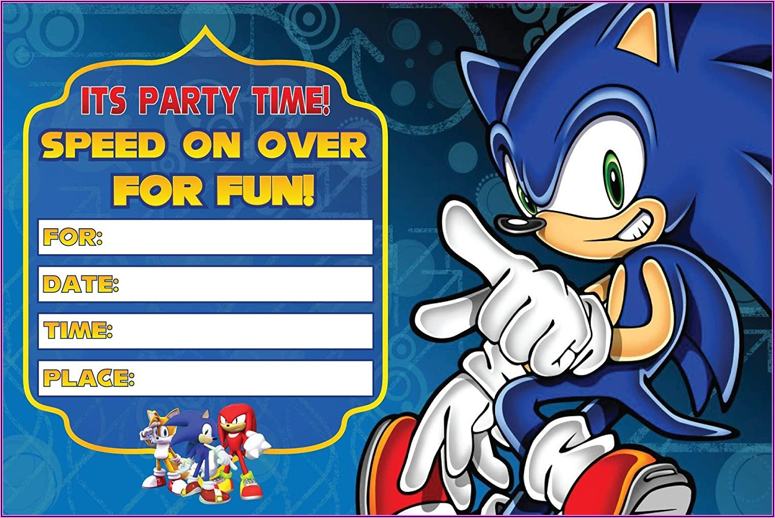 Sonic The Hedgehog Party Invitations