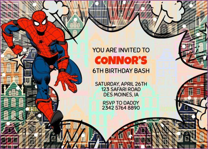 Spiderman Birthday Invitation Free Template