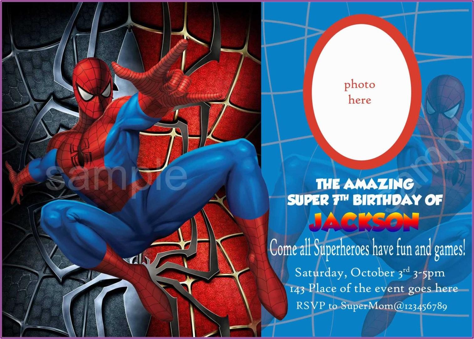 Spiderman Invitation Card Layout