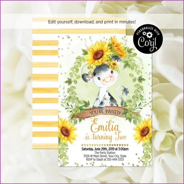 Sunflower Birthday Party Invitation Template