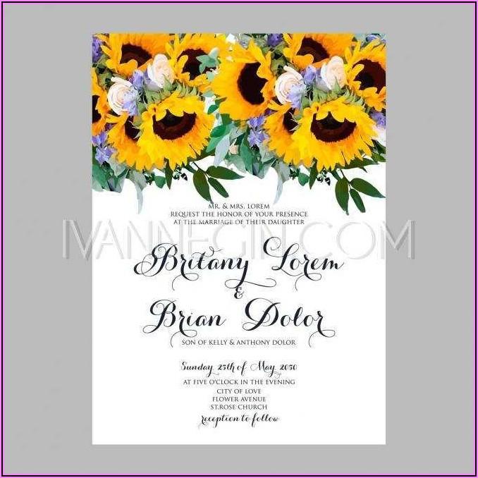 Sunflower Invitation Template Free