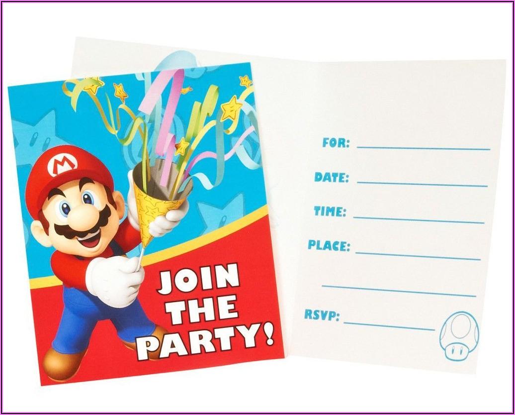 Super Mario Brothers Birthday Invitations