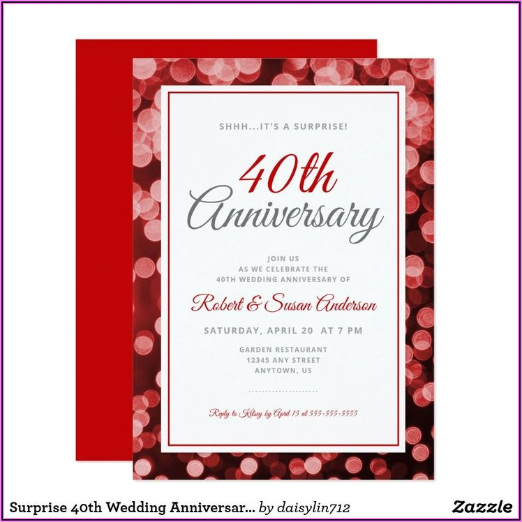 Surprise 40th Wedding Anniversary Invitation Wording