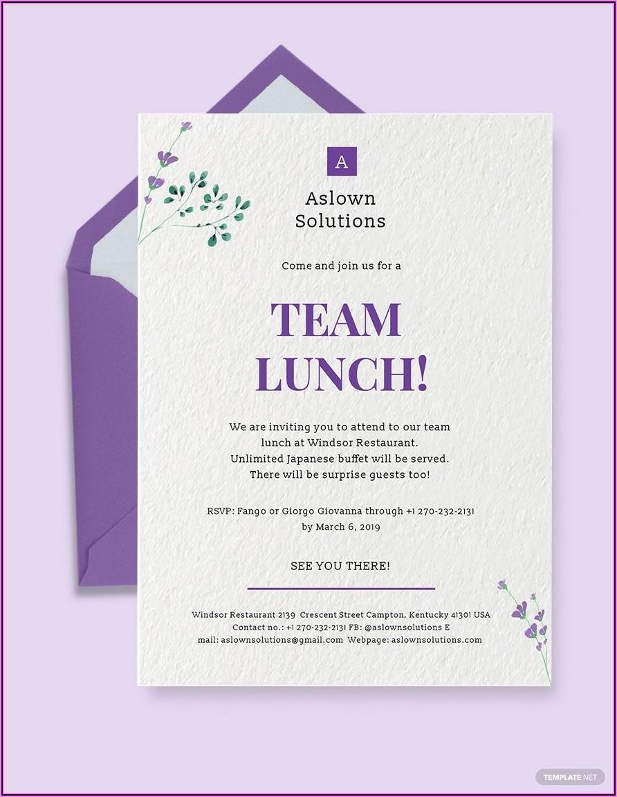 Team Lunch Invitation Template