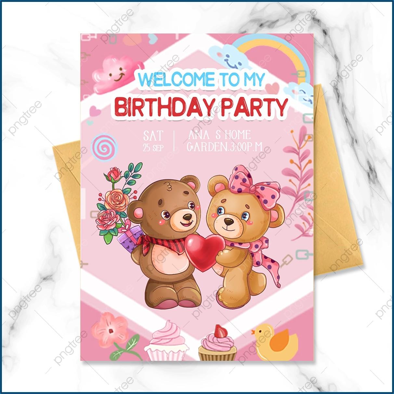 Teddy Bear Birthday Invitation Template
