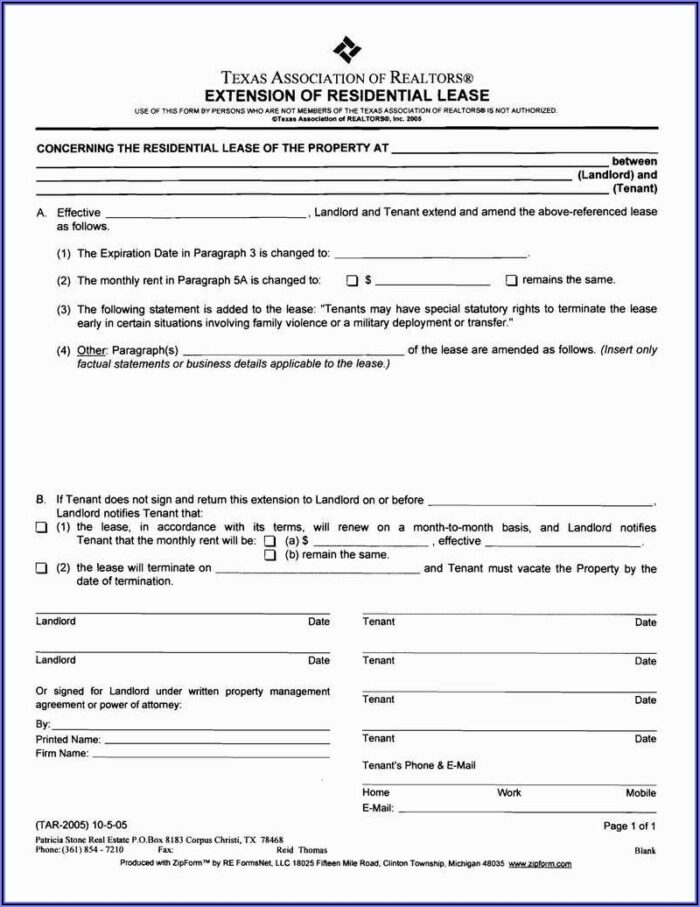 Texas Residential Lease Renewal Agreement