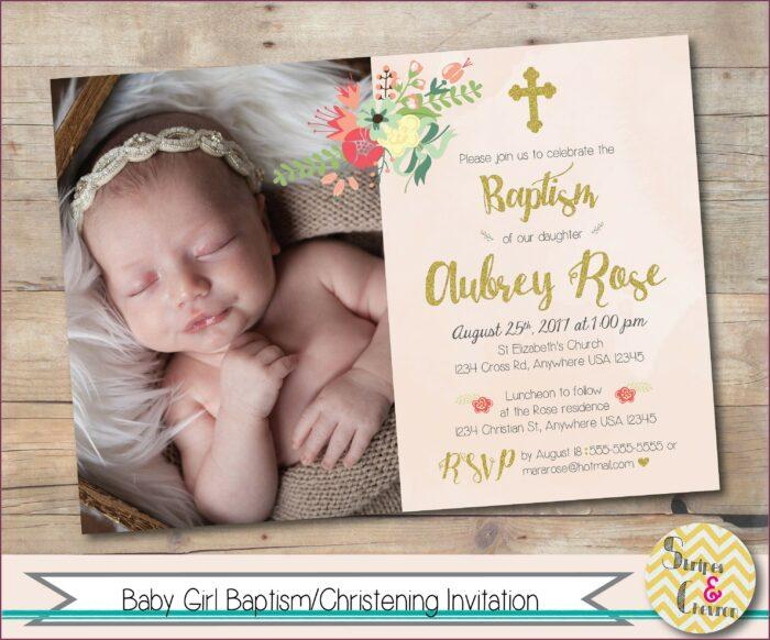 Unique Baptismal Invitation For Baby Girl