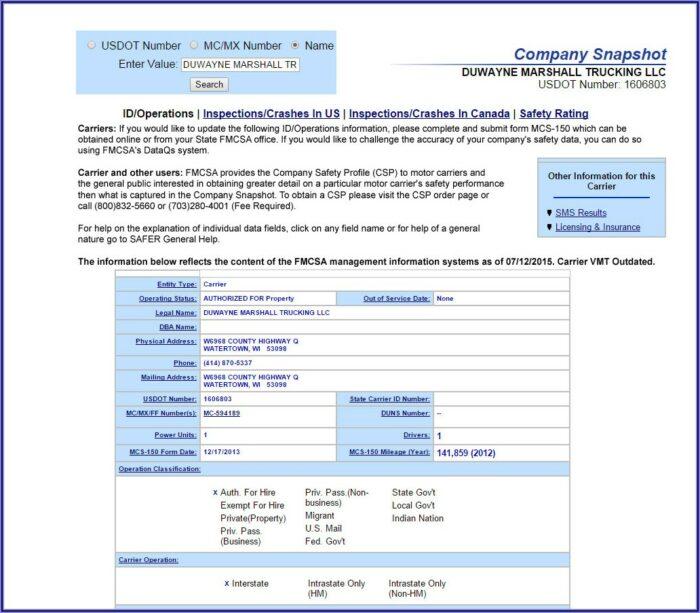 Usdot Number Application Form