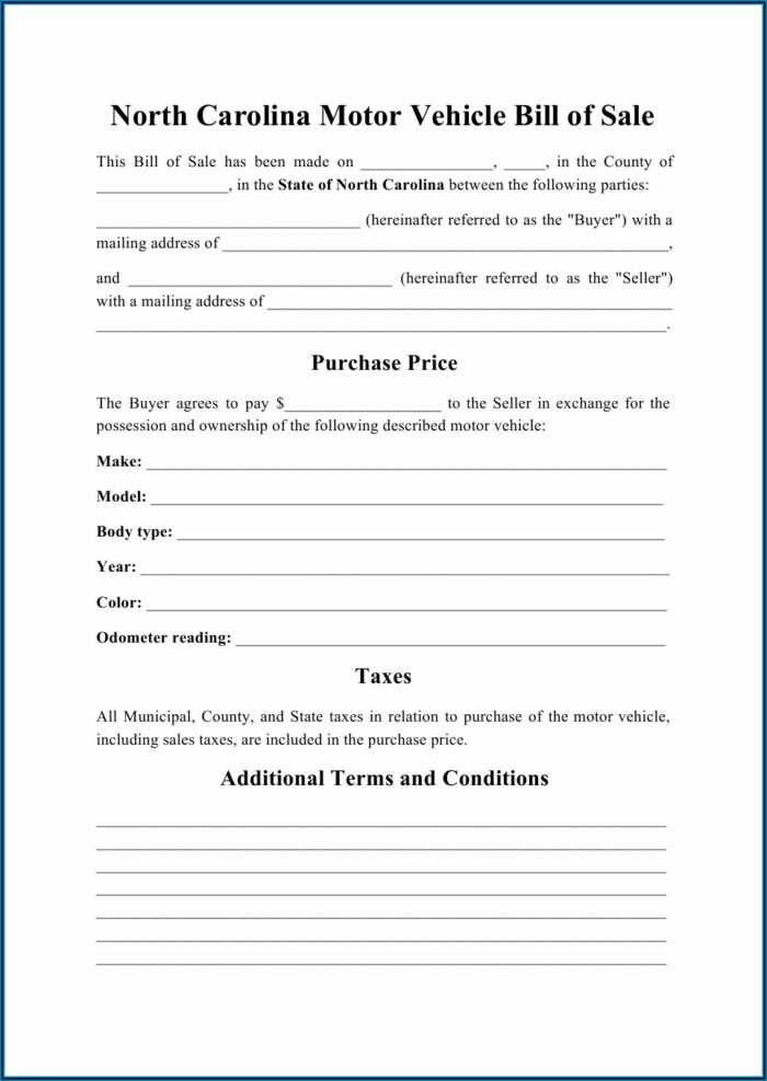 Used Car Bill Of Sale Template Nc
