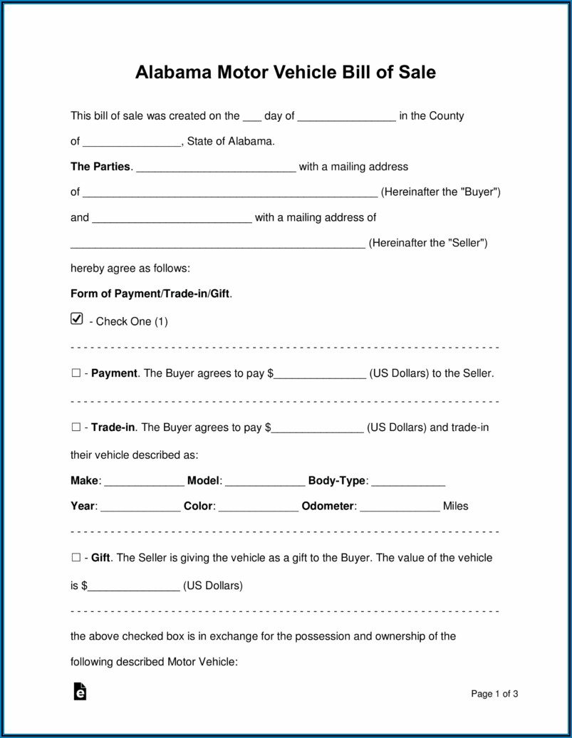 Used Vehicle Bill Of Sale Template