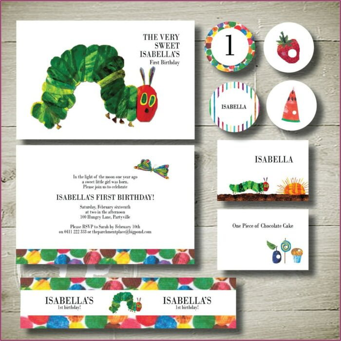 Very Hungry Caterpillar 1st Birthday Invitations