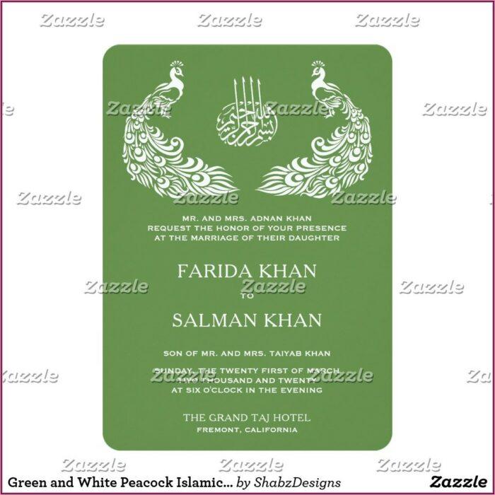 White And Green Elegant Wedding Invitations
